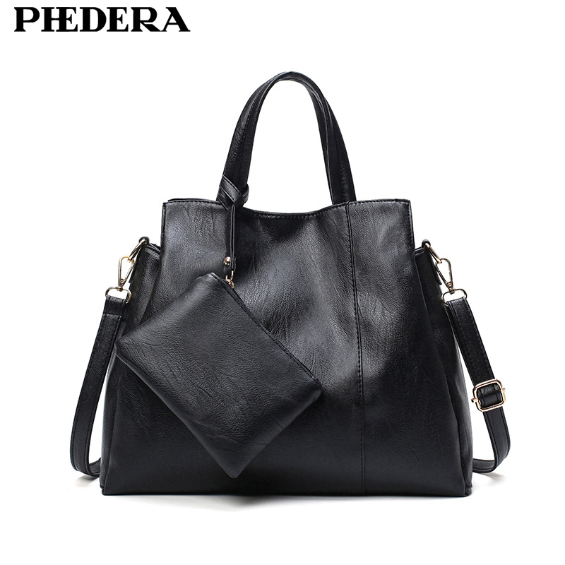 PHEDERA Autumn New Women Composite Bag Europe Style Women Handbag Black Gray PU Leather Female Tote Bags Ladies Satchels Purse yuanyu 2018 new hot free shipping python leather handbag leather handbag snake bag in europe and the party hand women bag