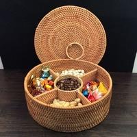 5 Gratki Jesień Rattan kosz pojemnik na żywność owoców deser pudełko do przechowywania żywności przekąski suszone owoce cukierki organizator herbaty cyny prezent