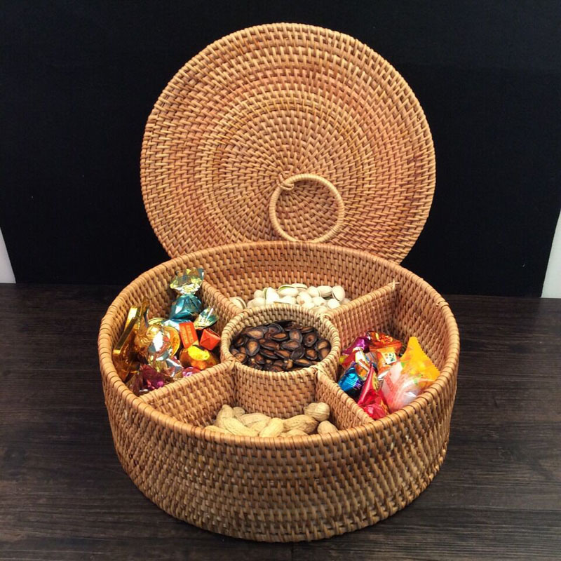5 Lattices Autumn Rattan basket food container fruits food storage box dried fruit candy snack dessert organizer tea tin gift
