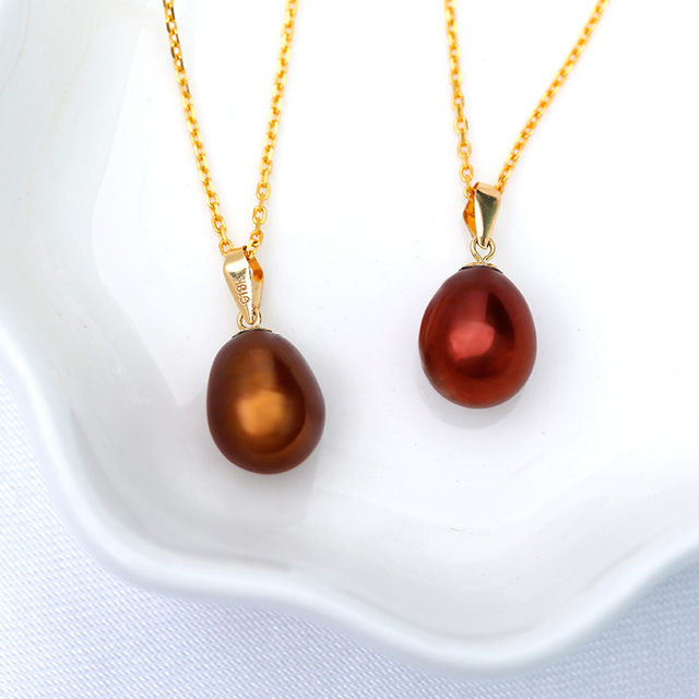 8.5-9mm Freshwater Pearl Brown Color Pendant 2
