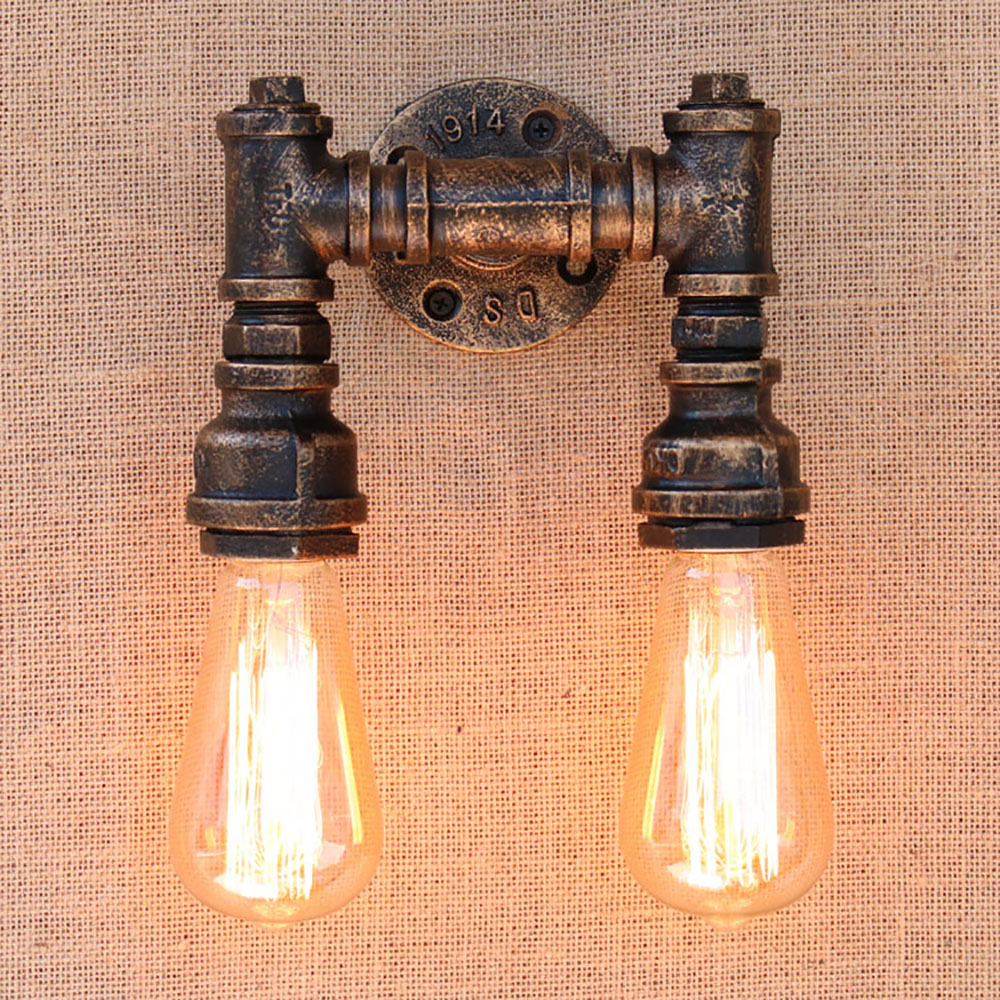 ФОТО 2 lights Art deco black metal vintage Water pipe bedside wall lamps with led/edison e27 lights for cafe loft bar bedroom