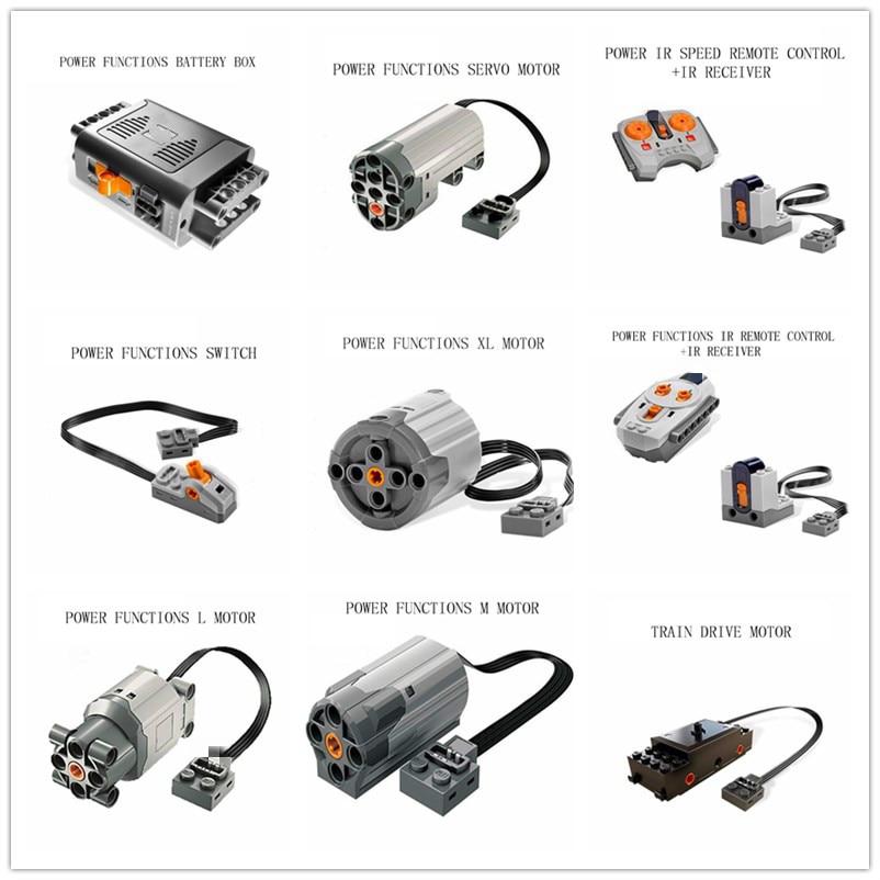 Technik Mechanische Serie Power Funktionen Servo Motor Batterie Box Ir-fernbedienung Empfänger LED Licht Baustein Ziegel Geschenke 20004