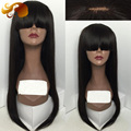 Brazilian Virgin Human Hair Lace Front Wigs Natural Silky Straight Full Lace Human Hair Wigs With Bangs For Black Women