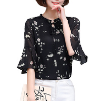 Fashion 3 4 Flare Sleeve Chiffon Blouse Women 2017 Summer Loose Floral Women Shirts Office Korean