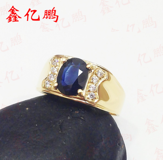 18 k gold inlaid natural sapphire ring ring 6 by 8 male contracted sedate Dark blue 2
