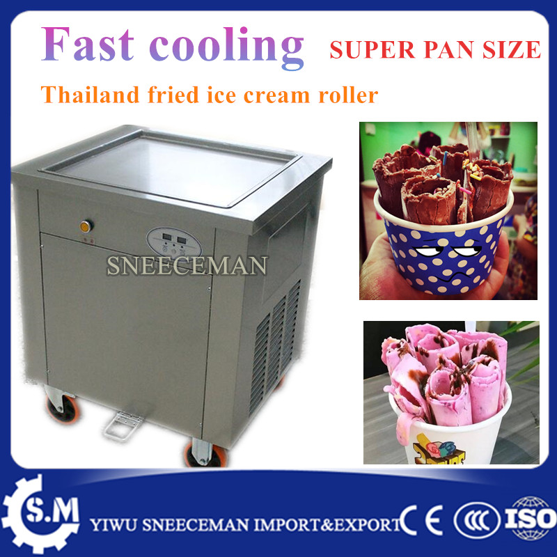 50cm big pan size 110 V / 220 V Square single pan fried ice cream roll machine ice pan machine with temperature control system square pan frozen rolling fried ice cream machine 50cm diameter