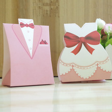 100PCS=50 Pairs Wedding Candy Boxes Pink Wedding Favors Gifts Box Bride Groom Paper Dragees Wedding Storage Bags Party Supplies