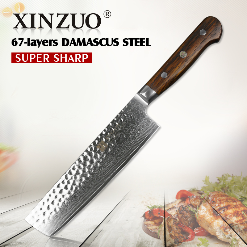 XINZUO 7 inch slicing knife Damascus steel kitchen knife stainlesss steel vegetable knives Pro chef s