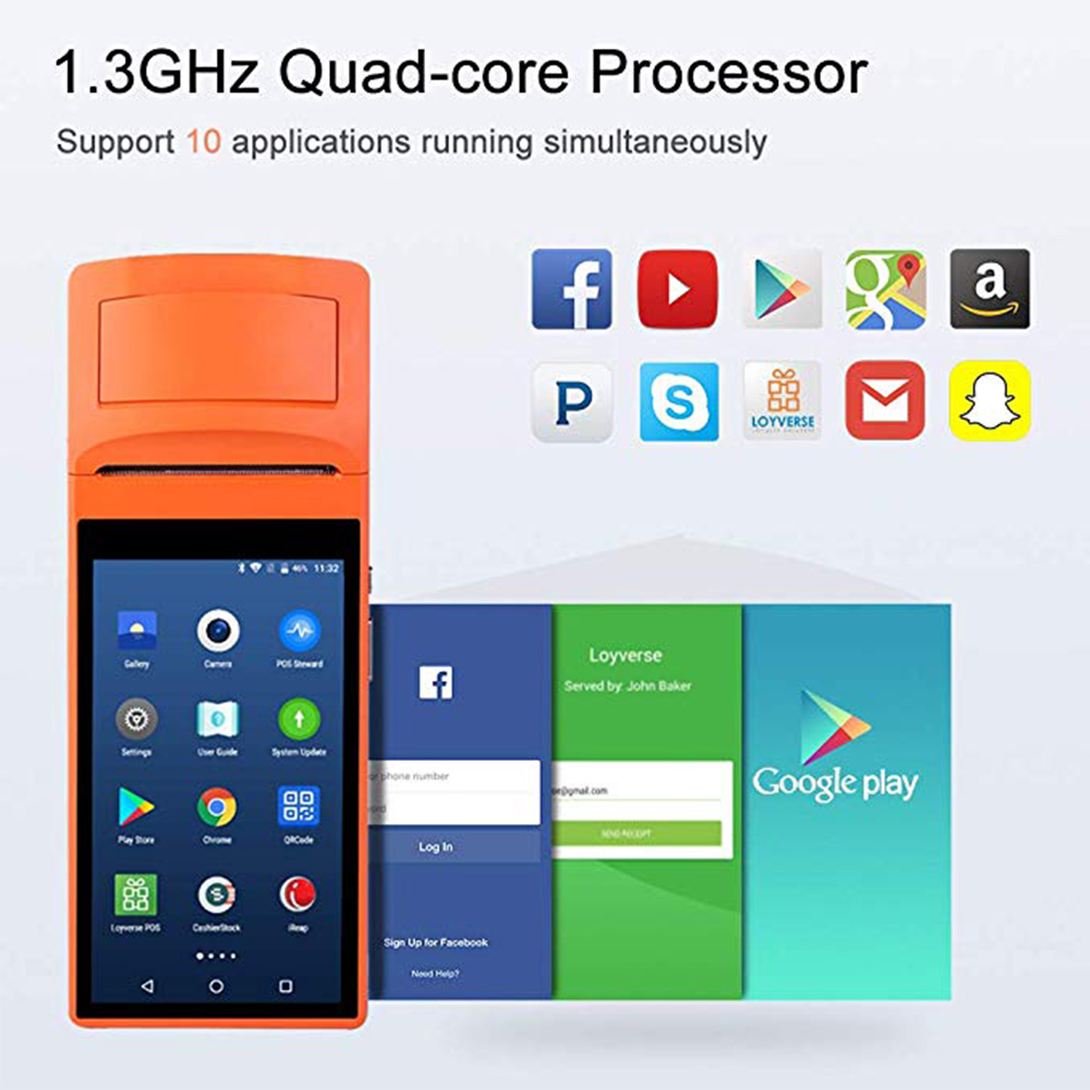 Issyzonepos Android 6 0 POS Sunmi V1s Terminal Handled PDA 3G WiFi  Bluetooth Printer Print Order Receipt Loyverse iEARP Software