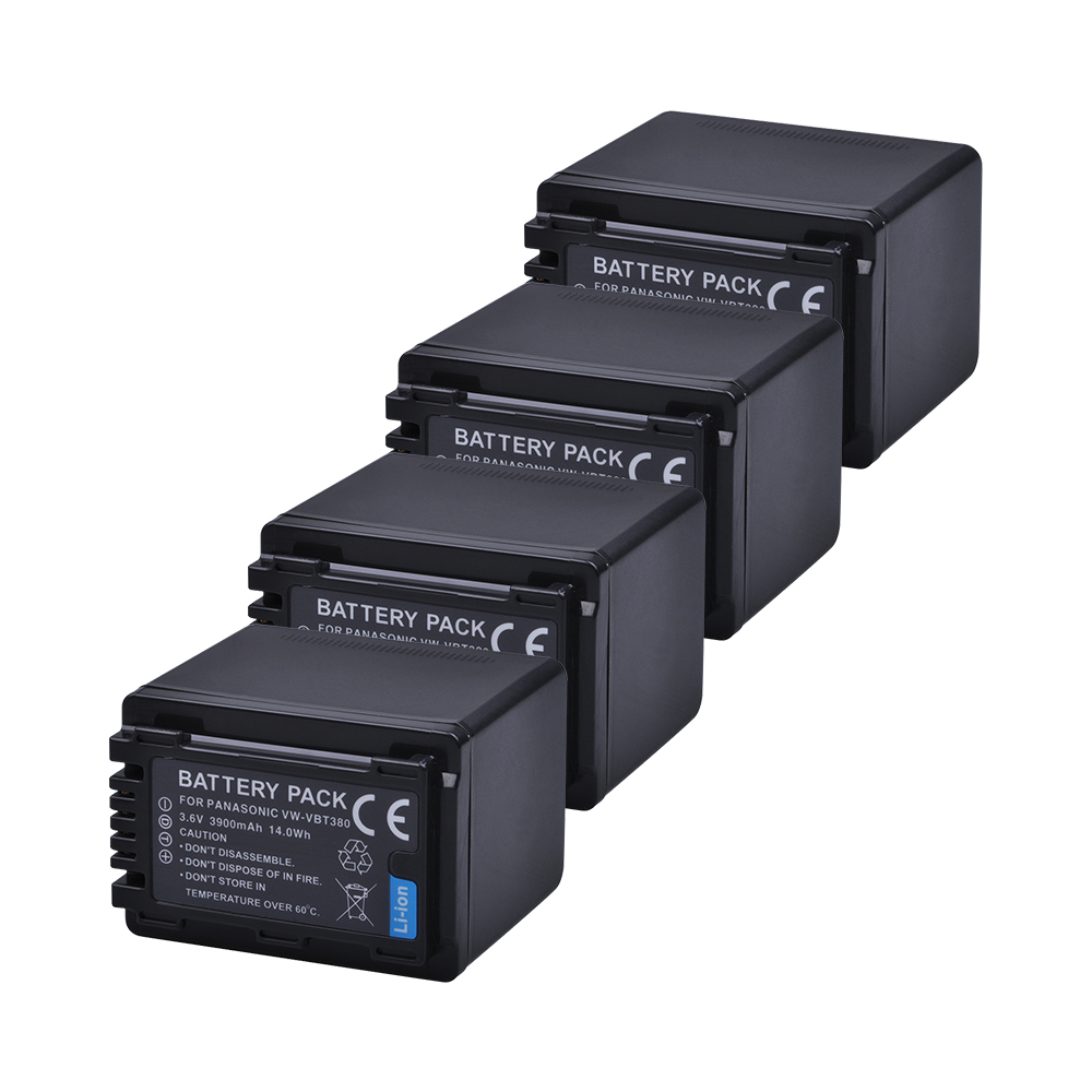 Tectra VW-VBT380 VW VBT380 4PCS 3900mAh Camera Battery for Panasonic HC-V180GK HC-V380GK HC-W580GK HC-V380 HC-W580MGK HC-WX970GK hc mascota
