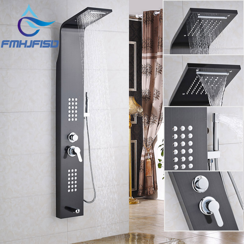 Oil Rubbed Bronze Rainfall Shower Faucet with Hand Shower Multiple Functions Shower Panel & Column allen roth brinkley handsome oil rubbed bronze metal toothbrush holder