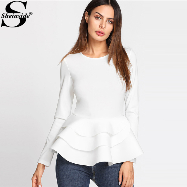391d8ef8ed2 Sheinside Round Neck Tiered Ruffle Hem Long Sleeve Peplum Blouse White Tiered  Layer Plain Top Women Elegant Blouse