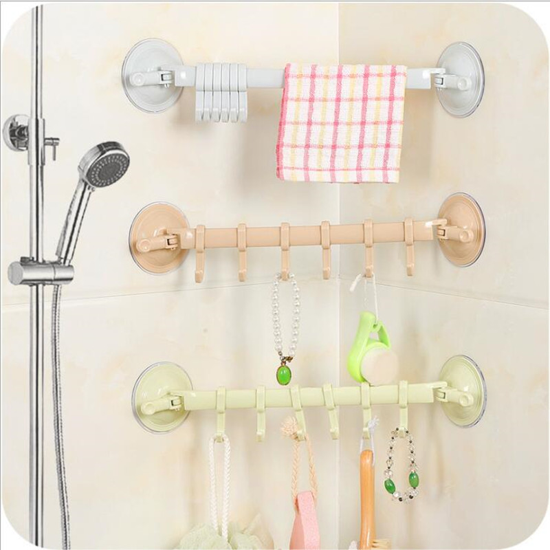 Newest Suction Wall Hanging Stand Hook Kitchen Bathroom Hanger Supper Power Vacuum Sucker Suction Hooks Adjustable PP