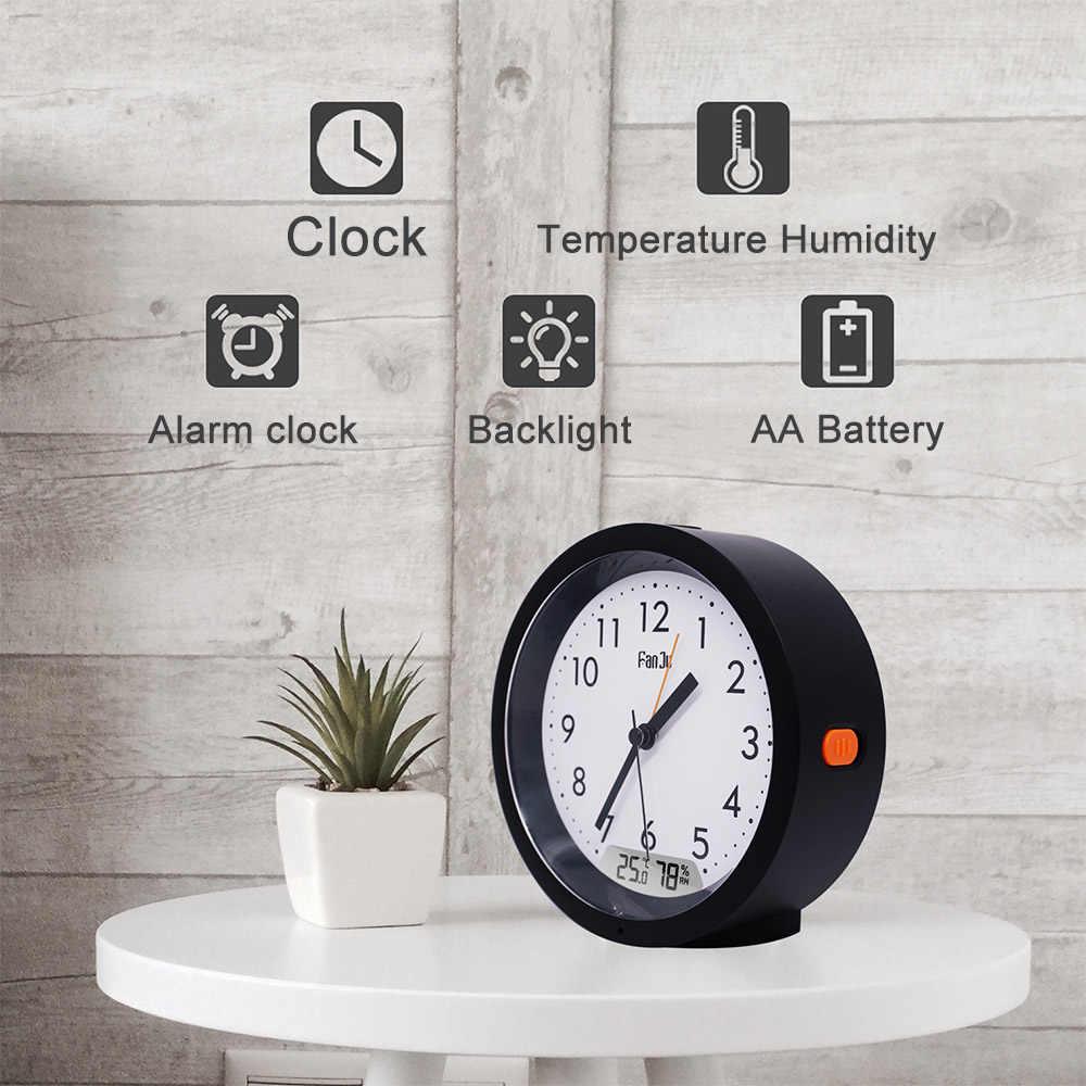 FanJu FJ5132 будильник Современный дизайн цифровая температура влажность светодиодная подсветка настольные часы для дома гостиной офиса время