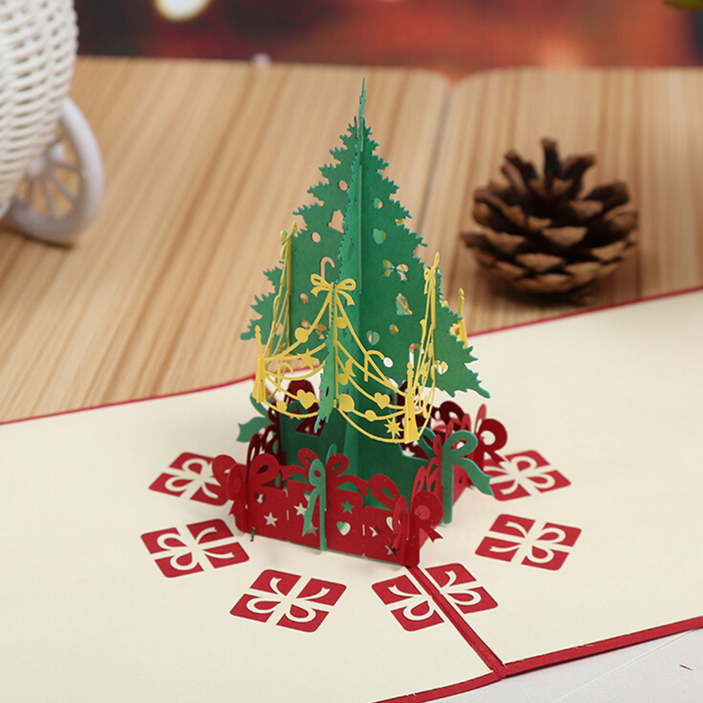 Custom Christmas Cards.Us 1 74 18 Off Merry Christmas Tree Vintage 3d Laser Cut Pop Up Paper Handmade Custom Greeting Cards Christmas Gifts Souvenirs Postcard In Cards
