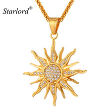 New Sun Flower Necklace Pendant Rhinestone Charming Stainless Steel/Gold Color Rope Chain For Women Party Chic Jewelry GP2434