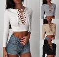 Camisas Femininas 2017 Crop Tops Mujeres Sexy Camiseta de Manga Larga tumblr vetement femme fashion ladies lace up top tee plus tamaño