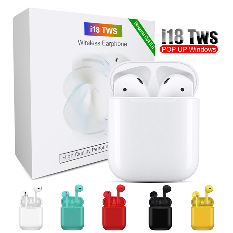 Original <font><b>i18</b></font> <font><b>TWS</b></font> Mini Wireless Stereo Earphone <font><b>Bluetooth</b></font> <font><b>5.0</b></font> 1:1 Headset Earbuds <font><b>Touch</b></font> <font><b>Control</b></font> Bass Headset with Charging Box image