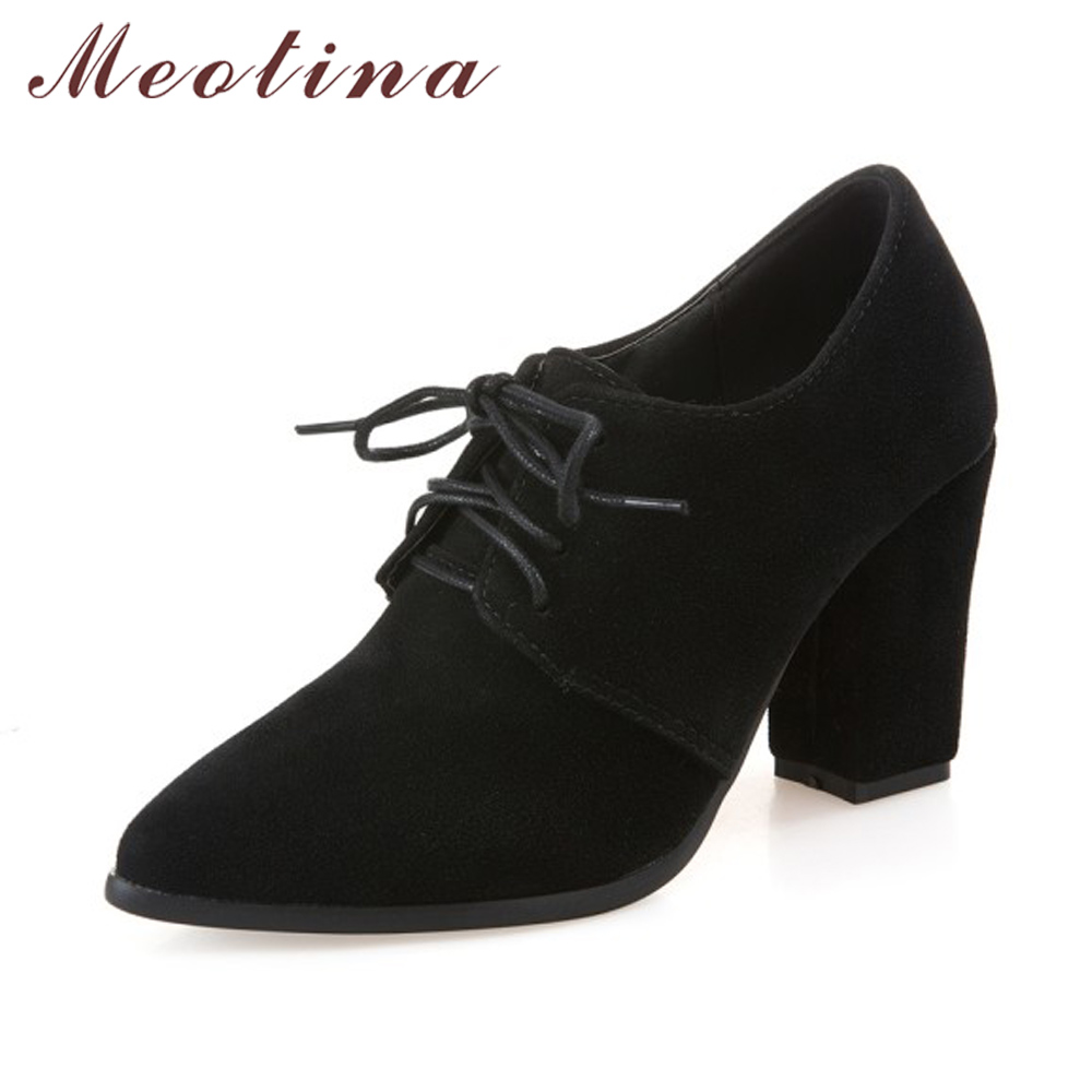 Meotina Shoes Women High Heels Women Pumps Spring Lace Up Dress Thick Heels Pointed Toe Ladies Shoes Gray Black Big Size 11 45 plus size 34 49 new spring summer women wedges shoes pointed toe work shoes women pumps high heels ladies casual dress pumps