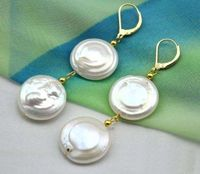 11-12 MM mer du sud AAA + + BLANC COIN PERLE BALANCENT BAROQUE BOUCLE D'OREILLE jewerly