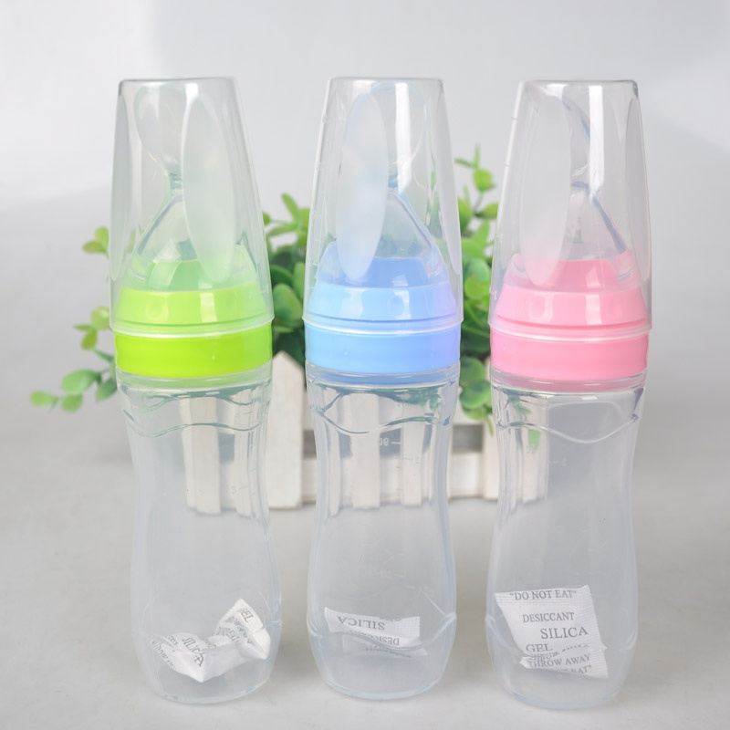 Baby Silicone Care Feeding Bottle Extrusion Type Feeding Infant Kids Spoon Rice Paste Feeding 120ml Bottle