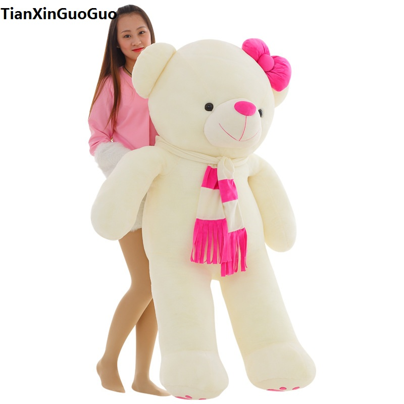 stuffed toy love you bear plush toy huge 160cm white teddy Bear,pink scarf bear doll hugging pillow birthday gift b1019 new stuffed light brown squint eyes teddy bear plush 220 cm doll 86 inch toy gift wb8316
