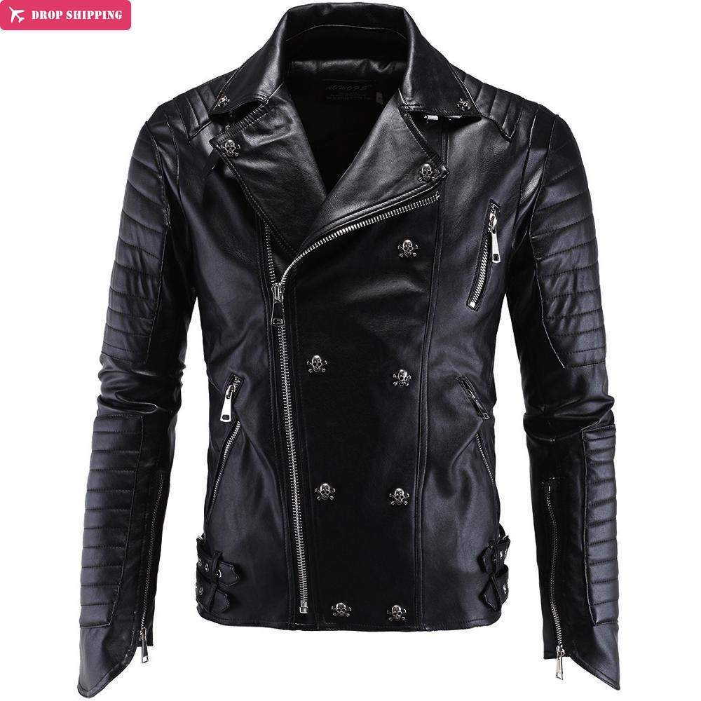 Brand Clothing Cool Fashion Party Essential Leather Motorcycle Jacket High Quality Leather Coat Plus Size Y998