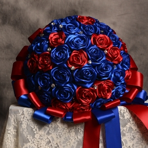 Hand made Satin Ribbon Rose 2017 Wedding flowers Blue&Red Bridesmaid Bridal Bouquets artificial 3D Rose Wedding Bouquet Rose