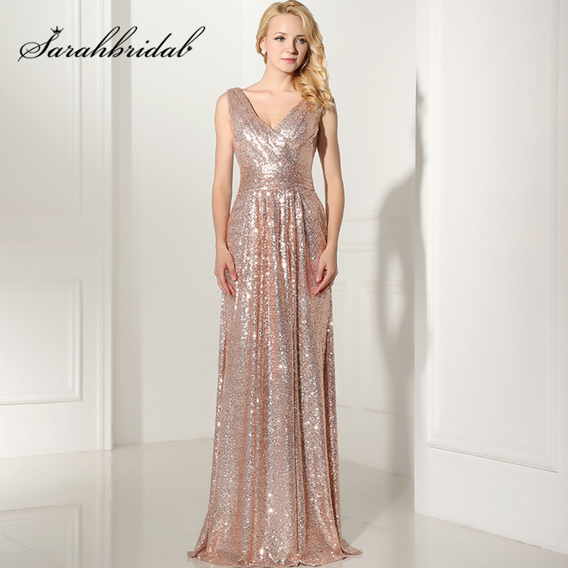 2019 Sparkly Long Bridesmaid Dresses Rose Gold Sequin Pleat Charming Wedding Party Dress Plus Size Formal Party Gowns OS349