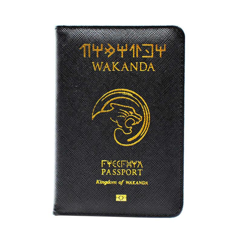 DIKEDAKU Wakanda Paspor Cover Unisex Rfid Kualitas Tinggi Pu Kulit Kartu Pemegang Paspor Hogwarts Asgard Paspor Case Dompet