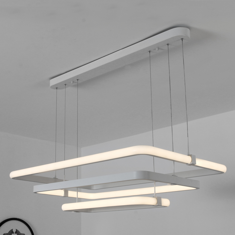 LODOOO modern led rectangle pendant lights for dining living Kitchen room White Aluminum Pendant lamp lamparas modernas Fixtures modern led pendant lights for dining living room acrylic 38w led pendant lights lamp lighting fixture lamparas modernas vallkin