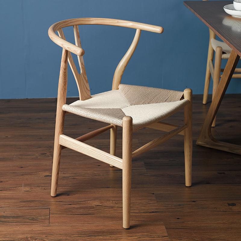 Скандинавский современный из натурального дерева простой обеденной стул из ясеня для отдыха дома спинка деревянного кресла Кеннеди китайский стиль Y стул - Цвет: style 1