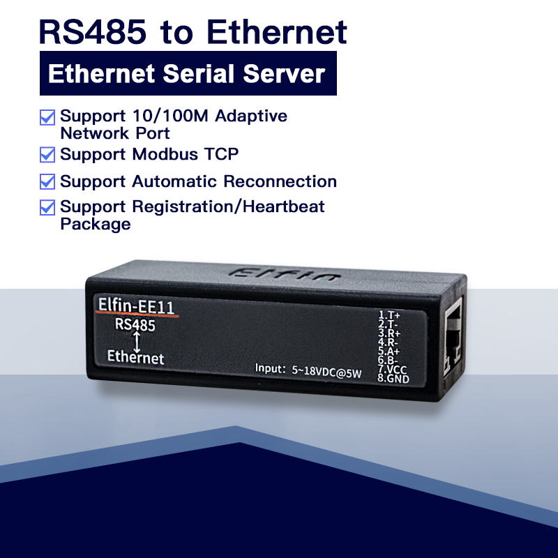 US $9 0 |Serial port RS485 to Ethernet serial port device server support  Elfin EE11 TCP/IP Telnet Modbus TCP Protocol power anti reverse-in Building