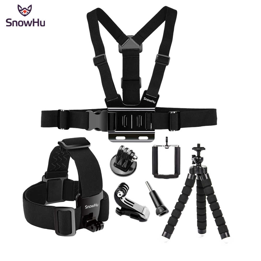 SnowHu For Gopro Hero Action camera accessories Headband Tripod Chest band hero 8 7 6 5 4 for EKEN H9 xiaomi yi GS65