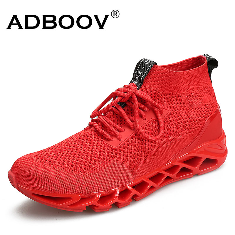FEOZYZ 2018 New High Running Shoes Men Knit Upper Breathable Sneakers Man Rubber Sole Durable Jogging Sport Shoes
