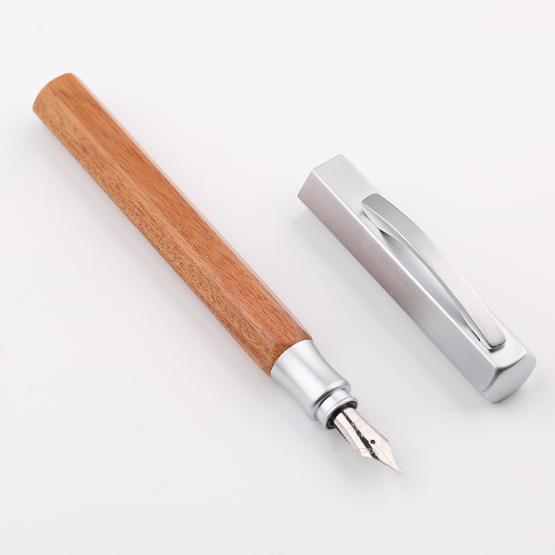 FreeShipping  Creative Hexagonal Rosewood Fountain Pen Extra Fine Small Bent Nib for Choose Business Office Luxury Gift Pens