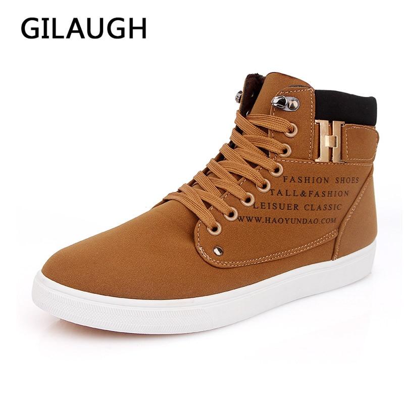 Gilaugh 2016 Мужские туфли модные осень-зима мужской Повседневное ботильоны  с высоким берцем Для мужчин повседневная обувь Размеры 39–46 5498f20b79b