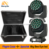 Flight Case+2pcs/lot Big Bee Eye led moving head zoom function DMX 512 wash light RGBW 4IN1 19x15W Beam effect light