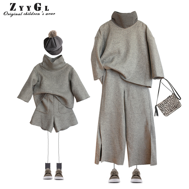 ZYYGL 2017 mother-and-daughter Suit Wool cashmere Pullover Sweater children clothing kid girls clothes Broad leg pants suit the new children s cubs hat qiu dong with cartoon animals knitting wool cap and pile