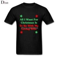 Tüm Ben Istiyorum Için Noel Olmak Benim Loving Eşi Ile Tees gömlek Erkek Boy Geek Kısa Kollu Crewneck Pamuk Artı Boyutu Çift Tshirt