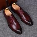 Vestido de La Manera de Los Hombres de Los Oxfords de Cuero Genuino de la Marca de alta calidad Ocasional Punta estrecha Con Cordones de Pisos Transpirables Zapatos Derby 0.9/2