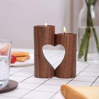 Wood Hollow Heart Lovers Cheap Candle Holders Modern European Style Creative Home Wedding Ceremony Ornament Gifts CZX8721