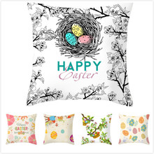 RULDGE 1PC Easter Square Cushion Cover Easter Egg Throw Pillow Case Waist Cushion Cover 45x45cm Home