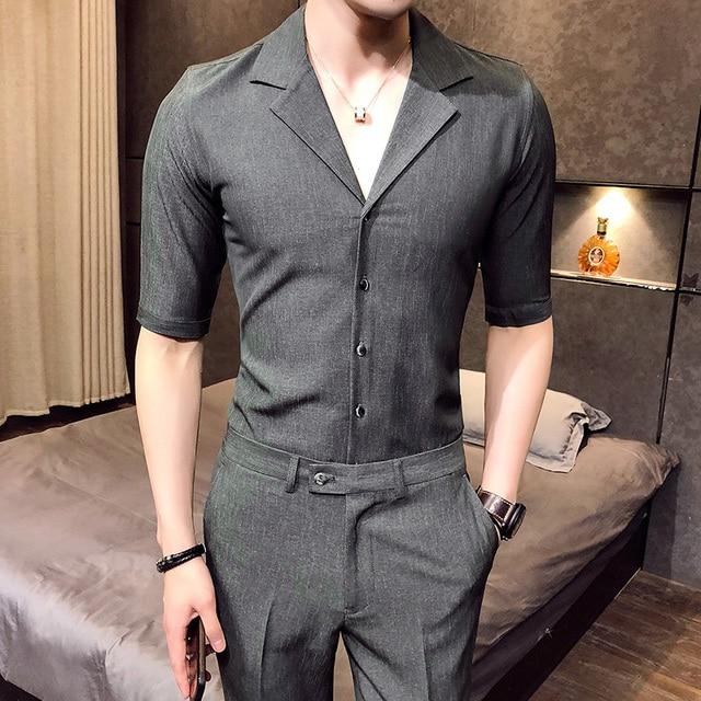 b63141b611cd us 59 0 2018 summer 2 pcs set mens shirts and pants british style camisa  social slim fit shirts mens dress blue gomlek korean clothing in casual .