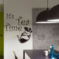 Its Tea Time Quote Decal Wall Vinyl Decals Home Decor Sticker