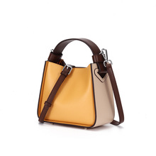Luxury Womens Handbags and Purses Genuine Leather Womans Shoulder Bucket Bag Yellow Women Messenger Bags Female Crossbody