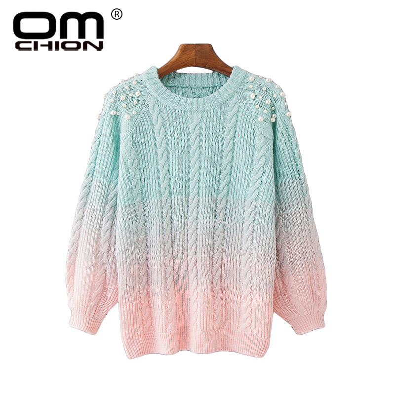 3d951c99ffa9 Detail Feedback Questions about OMCHION Pull Femme 2018 Winter O Neck  Gradient Pearl Beading Sweater Women Casual Korean Sweet Pullover Knit  Thick Jumper ...