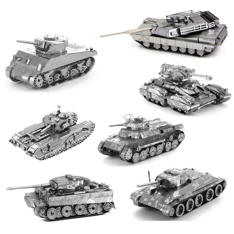 3D Metalen Puzzel DIY Mini Tank Model Monteren Jigsaw M1 Tank Tiger Tank T34 Tank Scorpion Tank Model Puzzel Speelgoed voor Militaire Fan