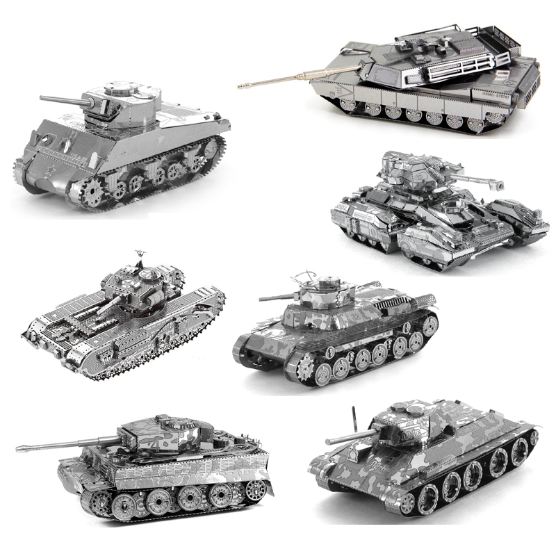 3D Metal Puzzle DIY Mini Tank Model Assemble Jigsaw M1 Tank Tiger Tank T34 Tank Scorpion Tank Model Jigsaw Toys For Military Fan