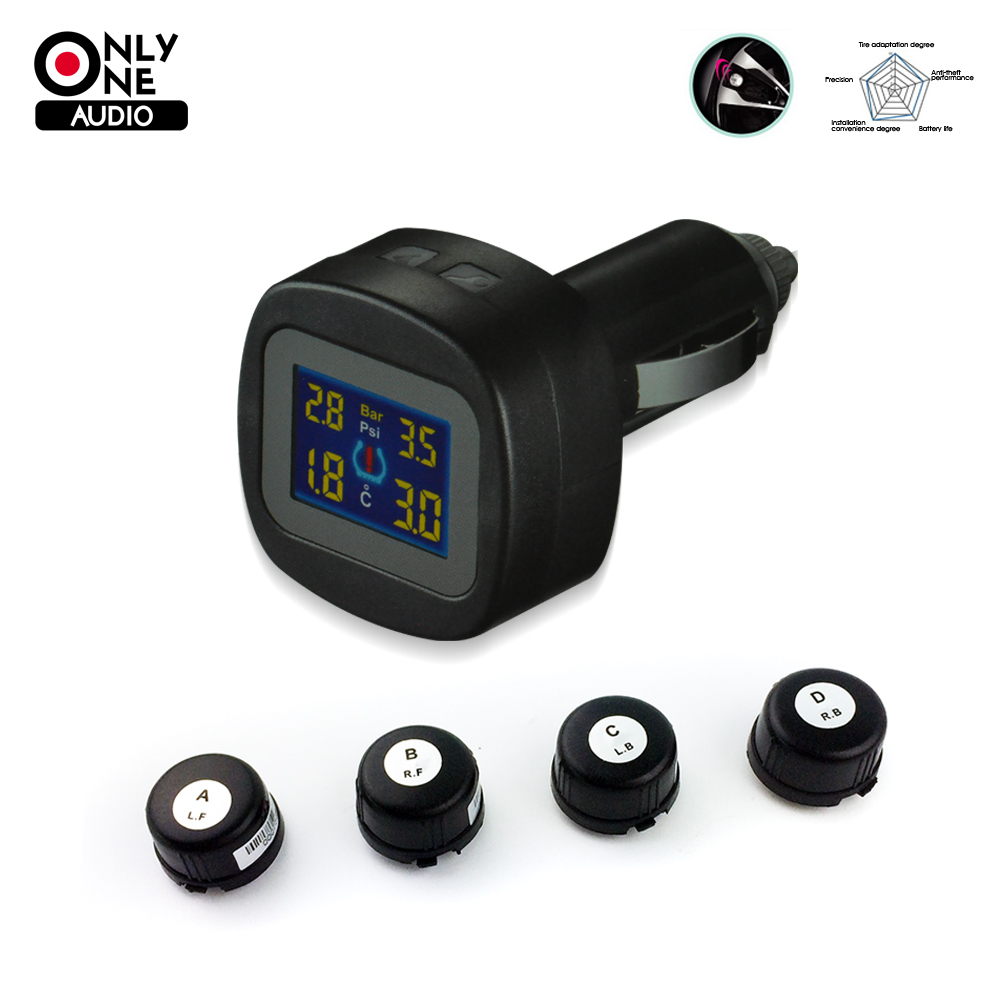ONLY ONE AUDIO auto car wireless TPMS tire pressure alarm system Cigarette butts with 4 external sensor Car diagnostic tool original autel maxitpms ts501 with obd2 adapters tpms diagnostic